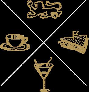 Cafe Fürstlich Retro Icon handgezeichneter Löwe, Kaffee, Sandwich und Drink
