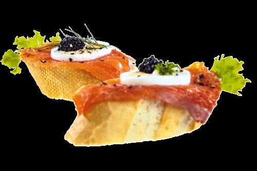 Fürstlich - Catering Service in Klagenfurt - Happas Catering - Bio Brötchen belegt mit Räucherlachs und Kavierersatz oder Roastbeef